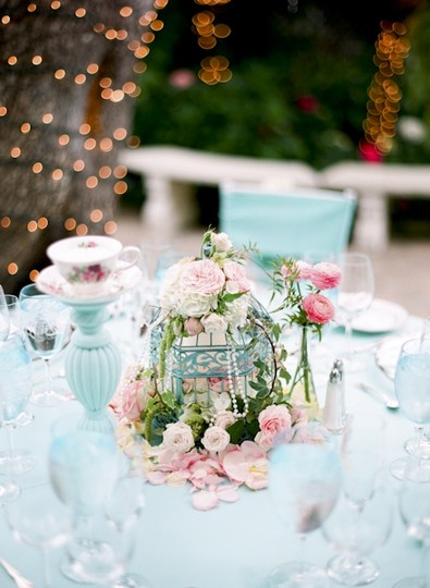 Turquoise 5 Rustic Shabby Chic Bird Cages Centerpieces