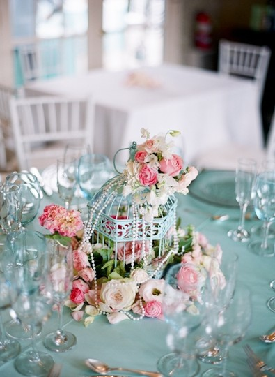 Turquoise 5 Rustic Shabby Chic Bird Cages Centerpiece