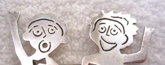Other Handcrafted Pin Brooch Couple People Girl Boy Signed Artsy Modernist Image 2