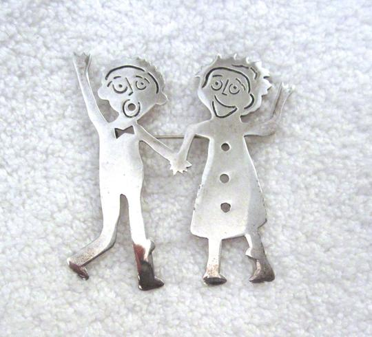 Other Handcrafted Pin Brooch Couple People Girl Boy Signed Artsy Modernist Image 6