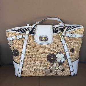 Coach Metal Accents Lined Tote in straw & white with gold & brown leather flowers
