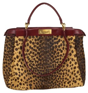 Fendi Satchel in Leopard/burgundy