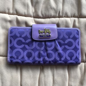 Coach 12 Credit Card Slots,zippered Change Purse,purple,wallet