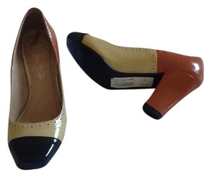 Luna Patent Leather Creme, Orange, Brown Pumps