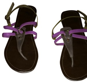 Candie's Brown, Purple, and Green Sandals
