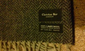 Dior Christian Dior Grey 100% Lambswool Scarf