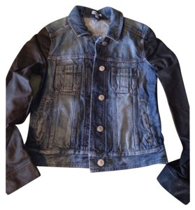 Express Blue and Black Womens Jean Jacket