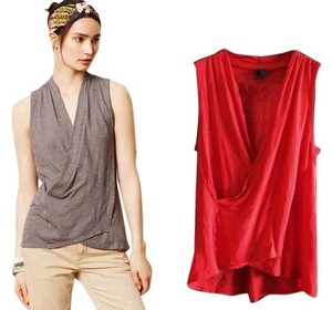 Anthropologie Unique Draped Colorful Comfortable Hi Lo Top Red