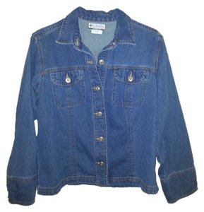 Columbia Sportswear Company Lightweight Sport Copper Buttons Denim Denim Blue Womens Jean Jacket