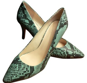 C. Wonder Mint and Black Snake Print Pumps