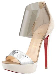 Christian Louboutin Red Sole Luxury Pvc Vynil silver and clear Sandals
