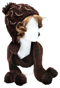 Brown and Brown Rhinestone Pom Pom Accent Knitted Winter Scarf and Beanie Hat Set
