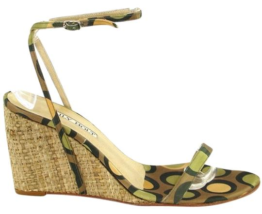 Lily Holt Woven Geometric Satin Green, Beige, Yellow Wedges