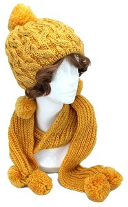 THIS SEASON'S HOTTEST COLOR TREND Yellow Gold Rhinestone Pom Pom Accent Knitted Winter Scarf and Beanie Hat Set