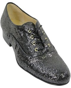 Love Moschino Glitter Oxford Flat Tuxedo Black Wedges