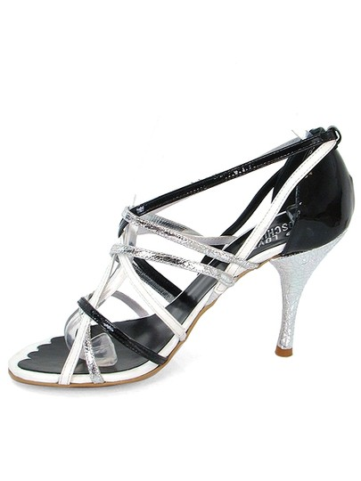 Love Moschino Strappy Metallic Black, Silver, White Sandals