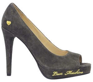 Love Moschino Suede Logo Platform Hidden Platform Gray Pumps