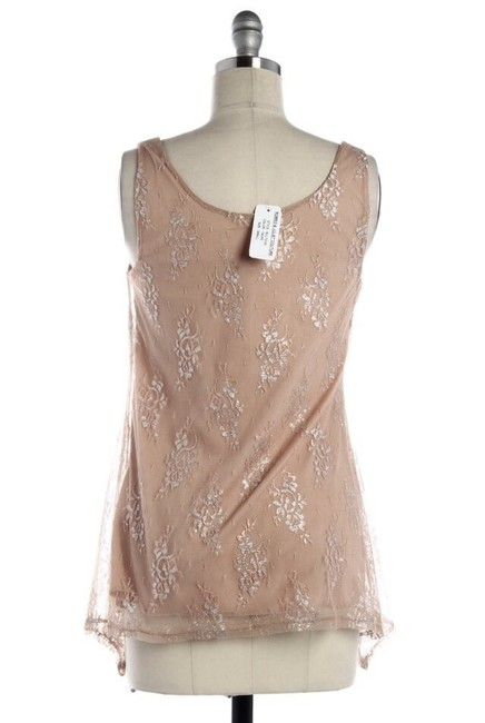 Romeo & Juliet Couture Lace Top Tan Metallic Image 1