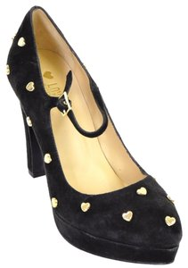 Love Moschino Studded Sweetheart Hearts Mary Jane Black Pumps