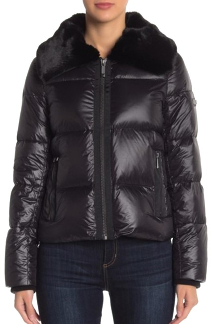 Item - Black Quilted Puffer with Faux Fur Collar Jacket Size 10 (M)