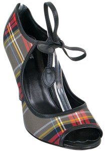 Love Moschino Plaid Peep Toe Tartan Black, White, Red Pumps