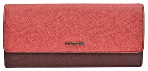 Coach COACH 51475 COLORBLOCK MIXED LEATHER SOFT WALLET AMBER/LOGANBERRY NWT