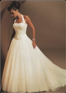 Mon Cheri White Satin Rochelle Formal Wedding Dress Size 6 (S)