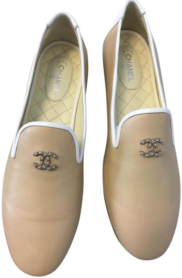 2269ac29fae Chanel Beige Classic Leather Silver Cc White Trim Slip-on Loafers Moccasin  Flats