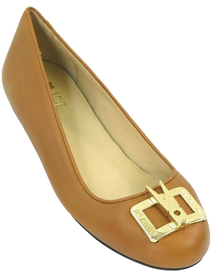 release date cost charm uk store Love Moschino Caramel Beige Cognac Leather Ballet Flats Size US 7 Regular  (M, B) 54% off retail