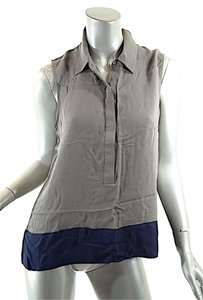 Theory Silk Top Taupe with Navy