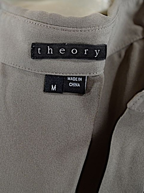 Theory Silk Top Taupe with Navy Image 1