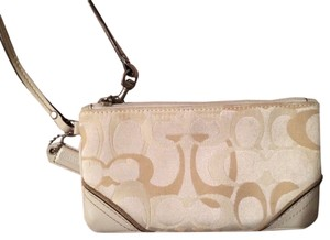 Coach Wristlet in White And Beige
