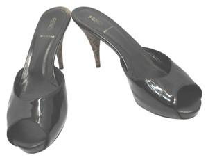 Fendi Peep Toe Patent Leather BLACK Sandals