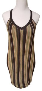 bebe Sparkle Stripes Night Out Halter Sleeveless Short Mid Length Dress