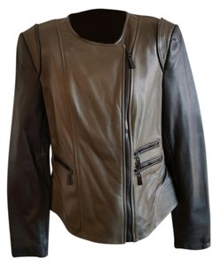 Vince Camuto Green and Black Leather Jacket