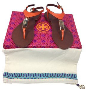 Tory Burch Padlock Strap Brown Leather Equestrian orange Sandals