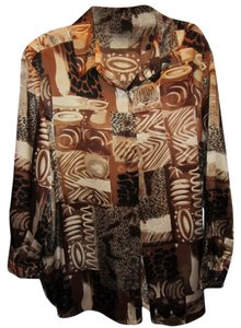 Maggie Barnes Top brown print