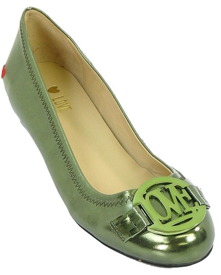 Love Moschino Ballerina Ballet Patent Leather Hearts Green Flats