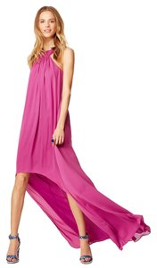 Halston Pink Maxi Chiffon Silk Maroon Flowy High Low Above Knee Chiffon Floor Length Marc Jacobs Drop Waist Gown Evening Casual Dress