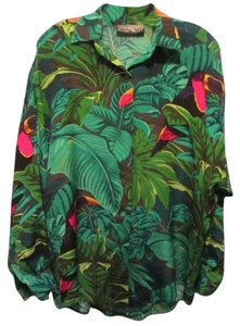 Ellen Tracy Top green tropical print