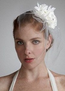 David's Bridal Double Flower Tulle Fascinator Ivory