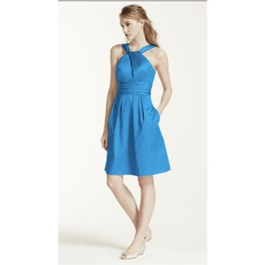 David's Bridal Cornflower Cotton Feminine Bridesmaid/Mob Dress Size 6 (S)