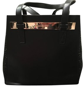 Vince Camuto Leather Laser Cut Sides Tote in Black