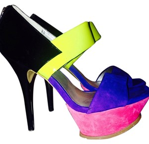 Jessica Simpson Purple punk black yellow suede/ patent leather Sandals
