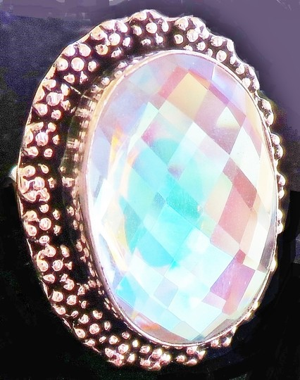 Other Large Natural Mystic Topaz Sterling Silver Ring 8