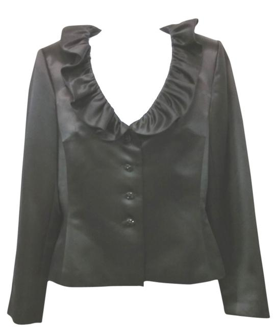 Preload https://img-static.tradesy.com/item/8795053/kay-unger-black-ruffled-neckline-satin-silk-blouse-size-8-m-0-2-650-650.jpg