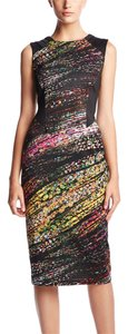 Spense Sleeveless Galaxy Printed Midi Paneled Sheath Scuba Dress