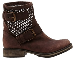 Steve Madden Leather Moto Winter Fall Mesh Brown Boots