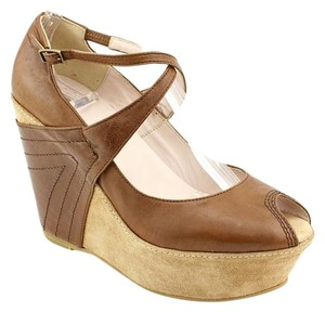 Kooba Wedge Leather Luggage Wedges