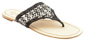 Plenty by Tracy Reese Leather Sandal Black Wite Silver Woven Sandals